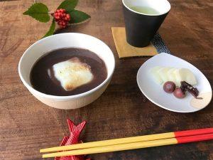 掻き落としの茶碗とお汁粉