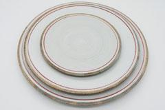 Line Pottery 一本線の白い器 レッド