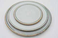 Line Pottery 一本線の白い器 グリーン