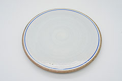 Line Pottery Plate L Blue 一本線の白い器プレートLブルー