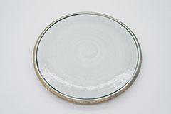 Line Pottery Plate L Green 一本線の白い器プレートLグリーン