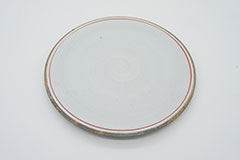 Line Pottery Plate L Red 一本線の白い器プレートLレッド