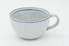 Line Pottery Soup Mug Blue 一本線の白い器スープマグブルー