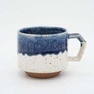 CHIPS stack mug. PREMIUM White-Navy Drop [No.CS006]
