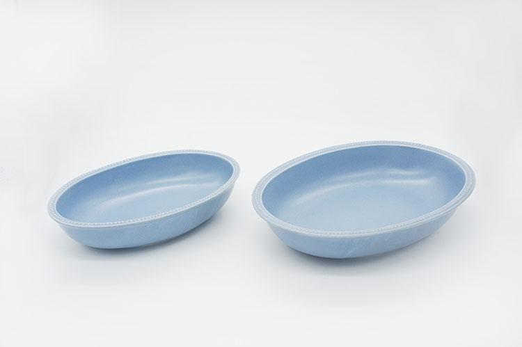 Rim Dots Oval Bowl Blue Gray - リムドット オーバルボウル ブルーグレー