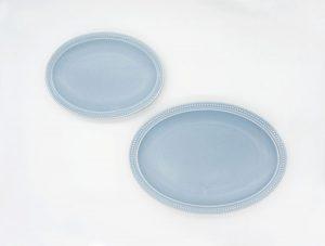 Rim Dots Oval Plate Blue Gray - リムドット オーバルプレート ブルーグレー