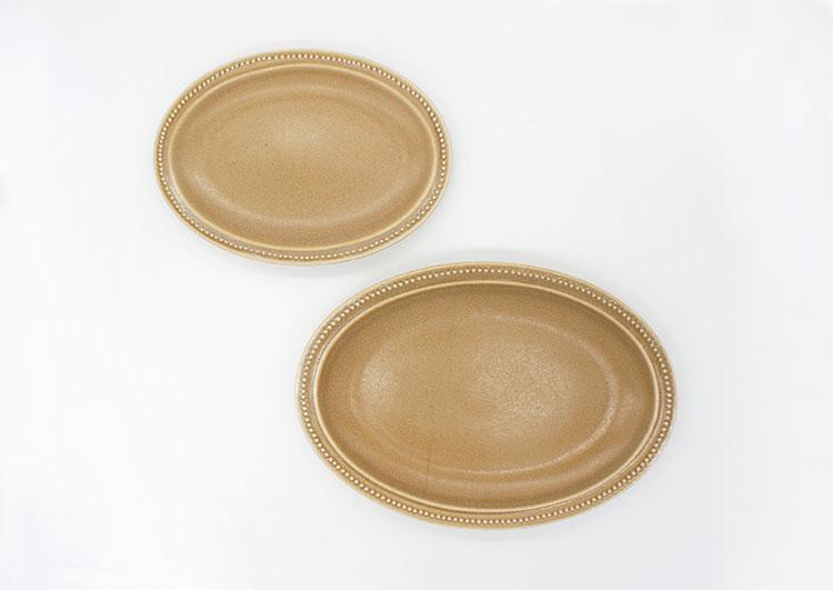 Rim Dots Oval Plate Mocha - リムドット オーバルプレート モカ