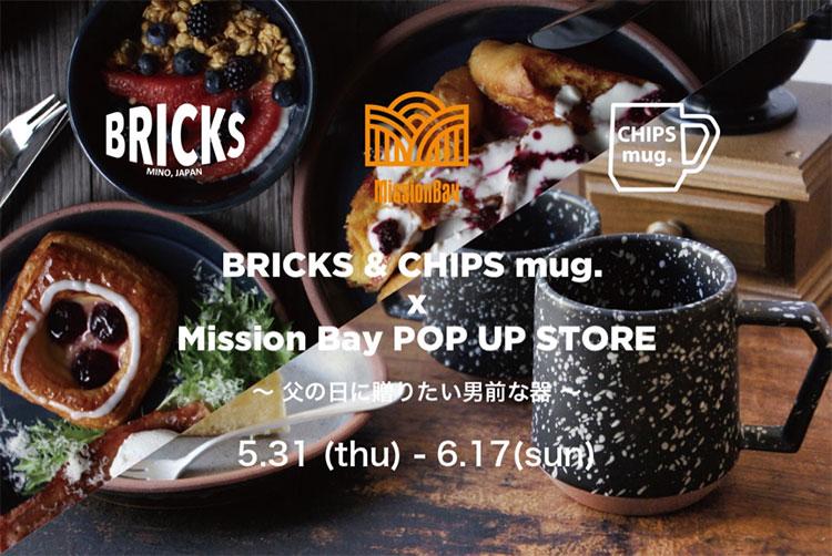 BRICKS & CHIPS mug. POP UP STORE at Mission Bay, Mission court