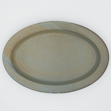 Ancient Pottery Gray Oval Plate