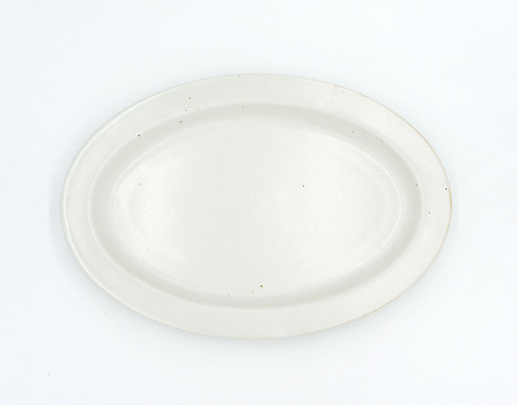 Ancient Pottery White Oval Plate