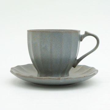 Ancient Pottery Gray Cup & Saucer - エイシェントポタリー グレー カップ&ソーサー