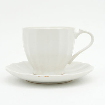 Ancient Pottery White Cup & Saucer - エイシェントポタリー ホワイト カップ&ソーサー