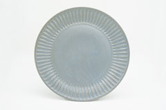 Pleated Pottery ひらひらの器(まる)Round Plate L Blue
