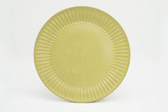 Pleated Pottery ひらひらの器(まる)Round Plate L Yellow